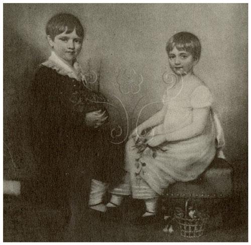 達爾文(左)與妹妹合影