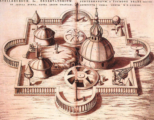 第谷在維恩島上所建立的Uraniborg城堡