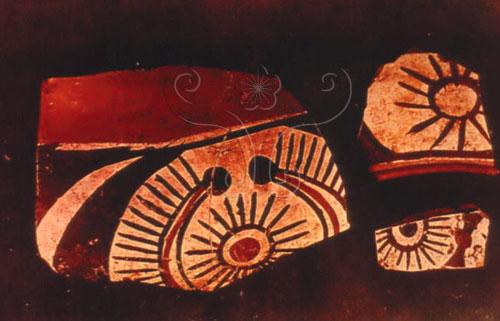 仰韶文化彩陶上的太陽紋圖案。