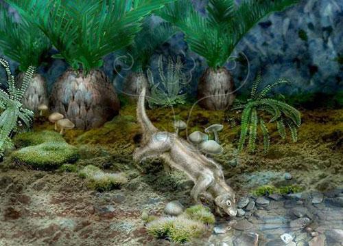 白堊紀早期熱河森林想像圖(Nicolle Rager Fuller繪)。