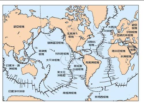 全球板塊構造、火山帶及火山區火環:(1a)環太平洋火山帶;(1b)日本-馬里亞納群島分支:(2)地中海-喜馬拉雅山火山帶;(3)中洋脊火山帶;及(4)熱點式火山島嶼。