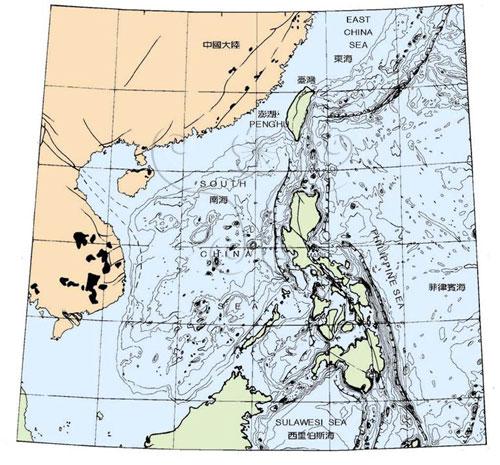 臺灣及其鄰近區域地形與構造略圖。