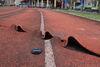 地震在東華大學操場所產生的水平錯動