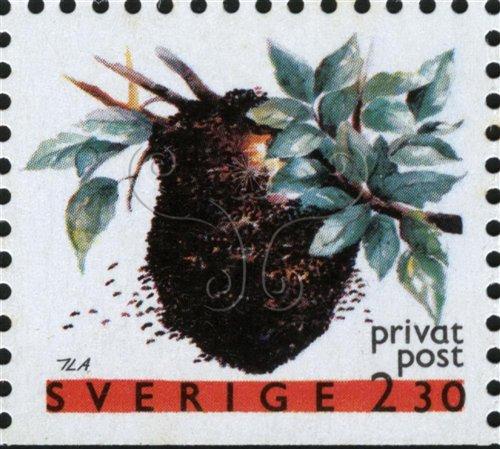 瑞典郵票上成團的蜜蜂(1990年)