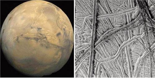 火星上酷似大運河的水手深峽谷與木衛二(Europa)表面冰層上的裂縫與冰脊(取材自NASA)