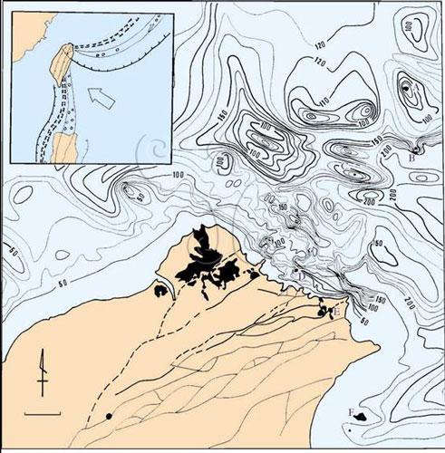 2台湾的火山区; 正断层; 台湾北部火山岩分布图.西列:1.大屯火山群2.